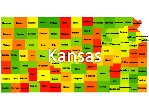 Kansas Powerpoint Maps US State Boundary Maps Kansas Free Maps - Us maps that can be edited free