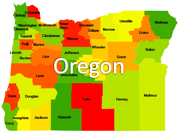 Oregon Powerpoint Maps US State Boundary Maps Oregon Free Maps - Us maps that can be edited free